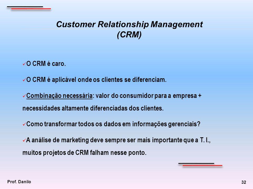 O CRM é caro. O CRM é aplicável onde os clientes se diferenciam. Combinação necessária: valor do consumidor para a empresa + necessidades altamente di