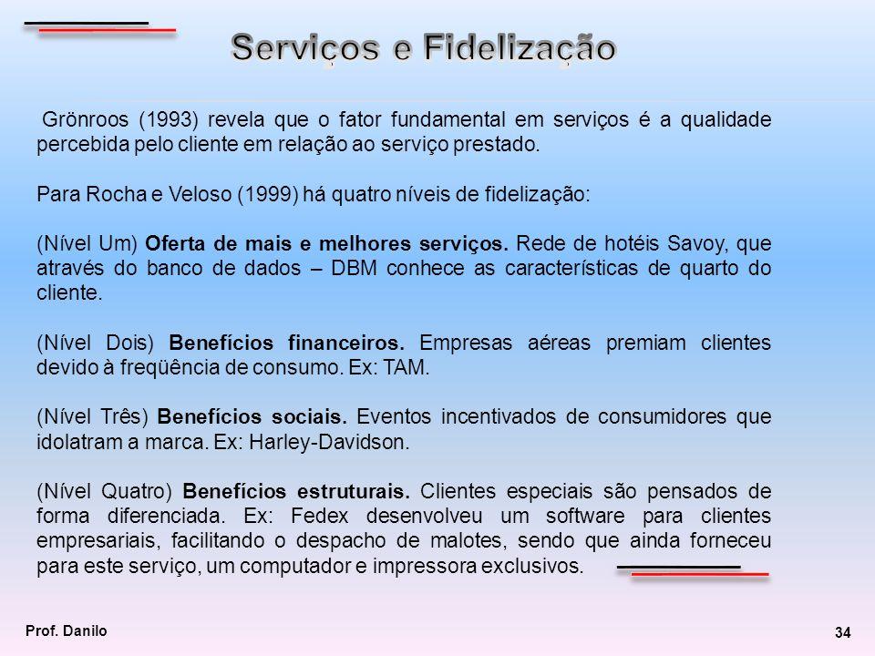 Grönroos (1993) revela que o fator fundamental em serviços é a qualidade percebida pelo cliente em relação ao serviço prestado. Para Rocha e Veloso (1