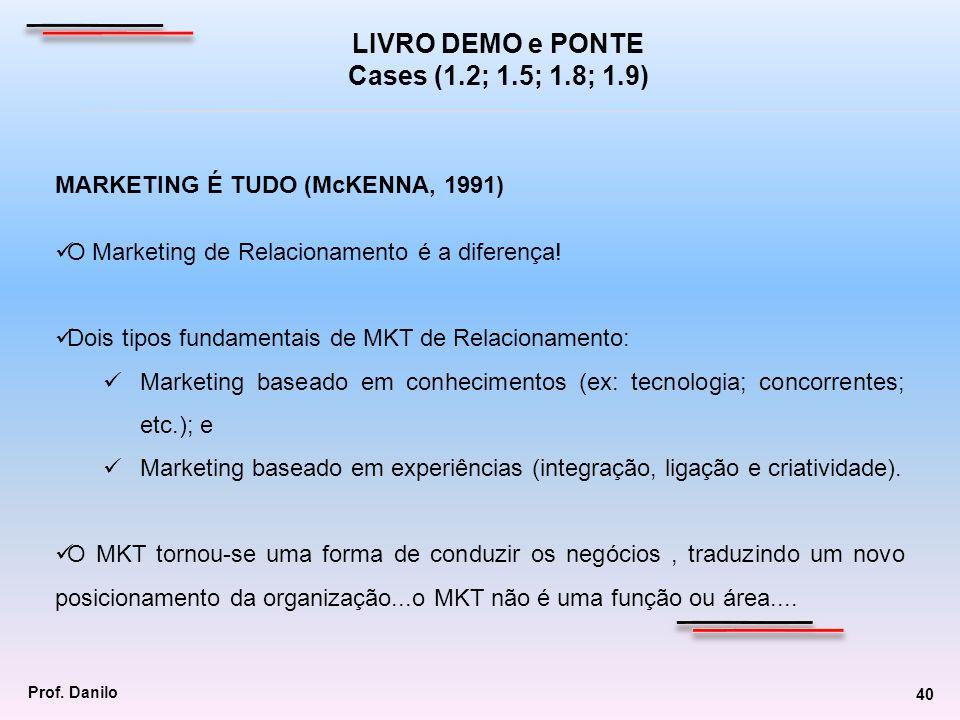 MARKETING É TUDO (McKENNA, 1991) O Marketing de Relacionamento é a diferença! Dois tipos fundamentais de MKT de Relacionamento: Marketing baseado em c