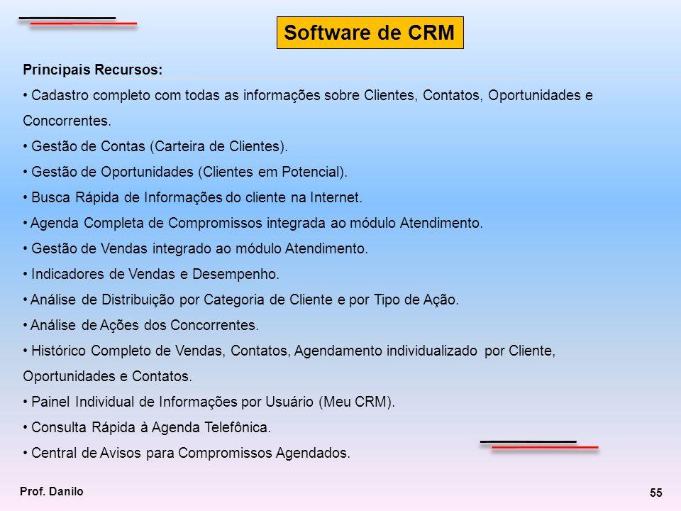 Principais Recursos: Cadastro completo com todas as informações sobre Clientes, Contatos, Oportunidades e Concorrentes. Gestão de Contas (Carteira de