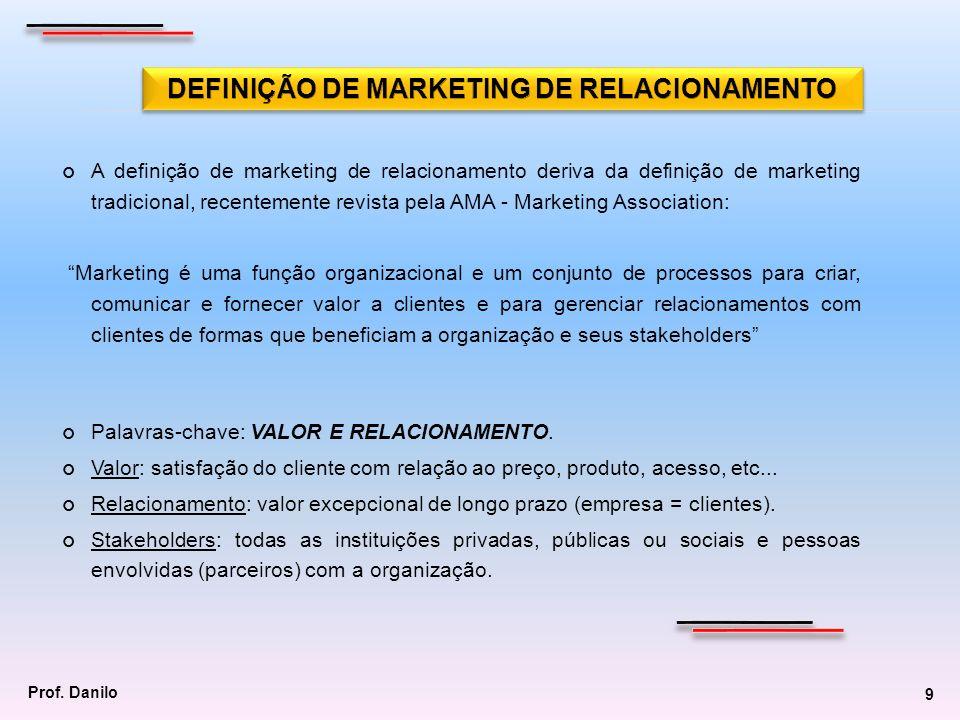 A definição de marketing de relacionamento deriva da definição de marketing tradicional, recentemente revista pela AMA - Marketing Association: Market