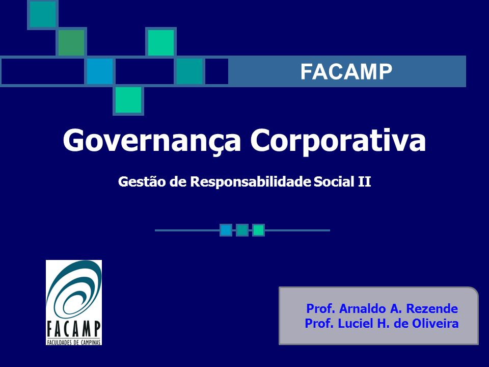 Governança Corporativa Gestão de Responsabilidade Social II Prof. Arnaldo A. Rezende Prof. Luciel H. de Oliveira FACAMP