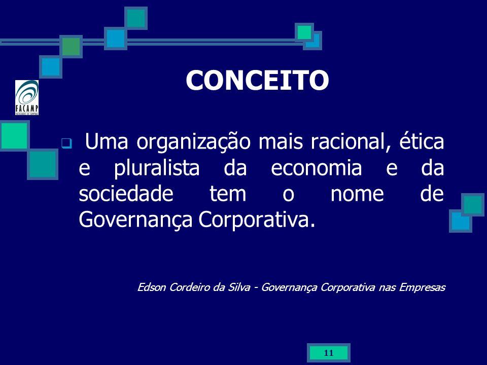 11 CONCEITO Uma organização mais racional, ética e pluralista da economia e da sociedade tem o nome de Governança Corporativa. Edson Cordeiro da Silva