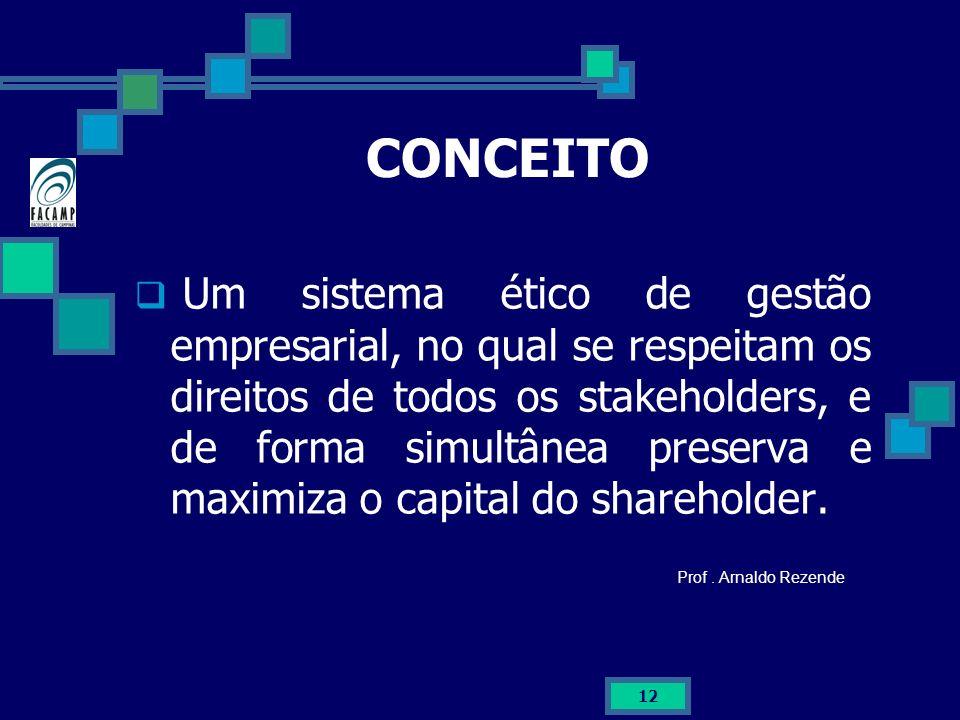 12 CONCEITO Um sistema ético de gestão empresarial, no qual se respeitam os direitos de todos os stakeholders, e de forma simultânea preserva e maximi