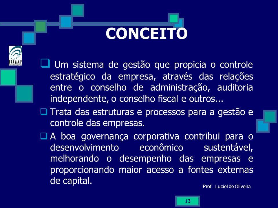 13 CONCEITO Um sistema de gestão que propicia o controle estratégico da empresa, através das relações entre o conselho de administração, auditoria ind