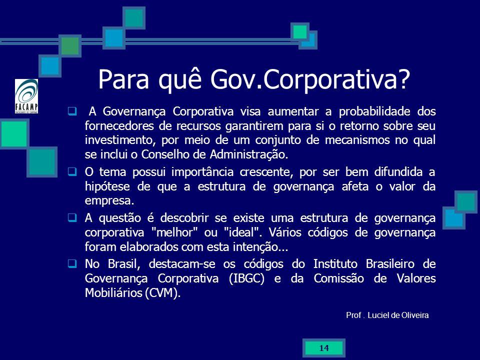 14 Para quê Gov.Corporativa? A Governança Corporativa visa aumentar a probabilidade dos fornecedores de recursos garantirem para si o retorno sobre se