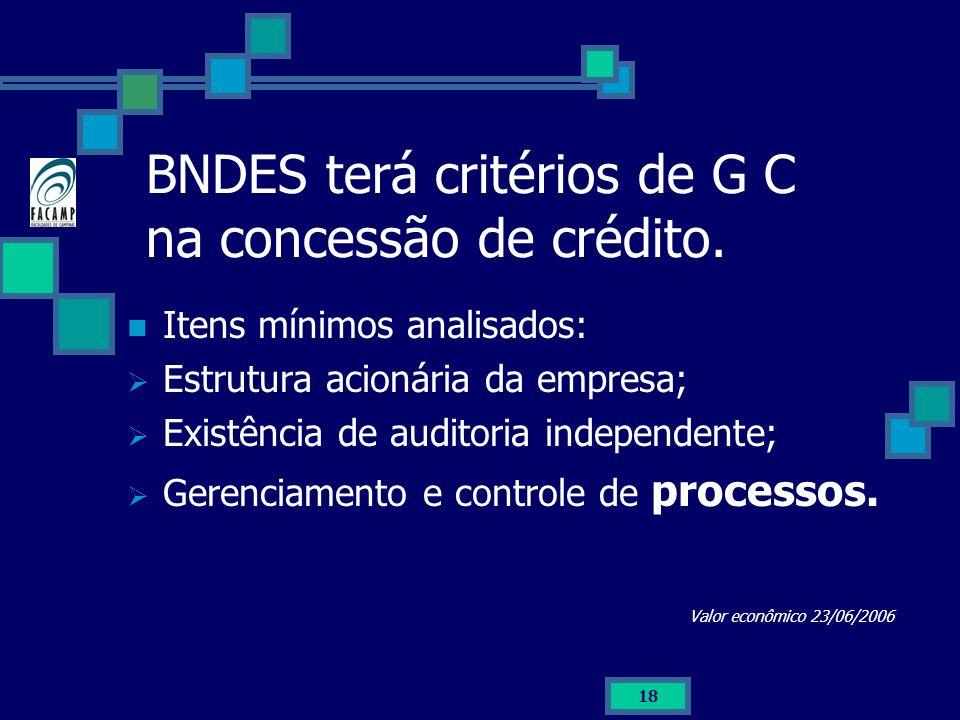 18 BNDES terá critérios de G C na concessão de crédito. Itens mínimos analisados: Estrutura acionária da empresa; Existência de auditoria independente