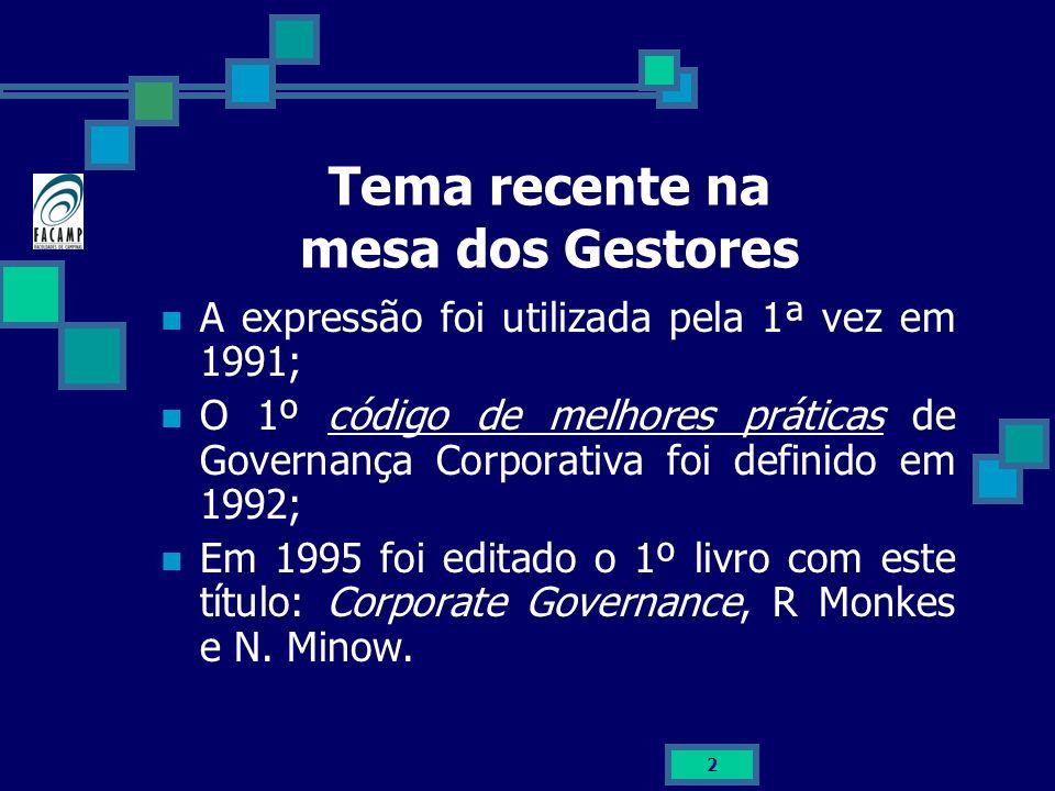 2 Tema recente na mesa dos Gestores A expressão foi utilizada pela 1ª vez em 1991; O 1º código de melhores práticas de Governança Corporativa foi defi