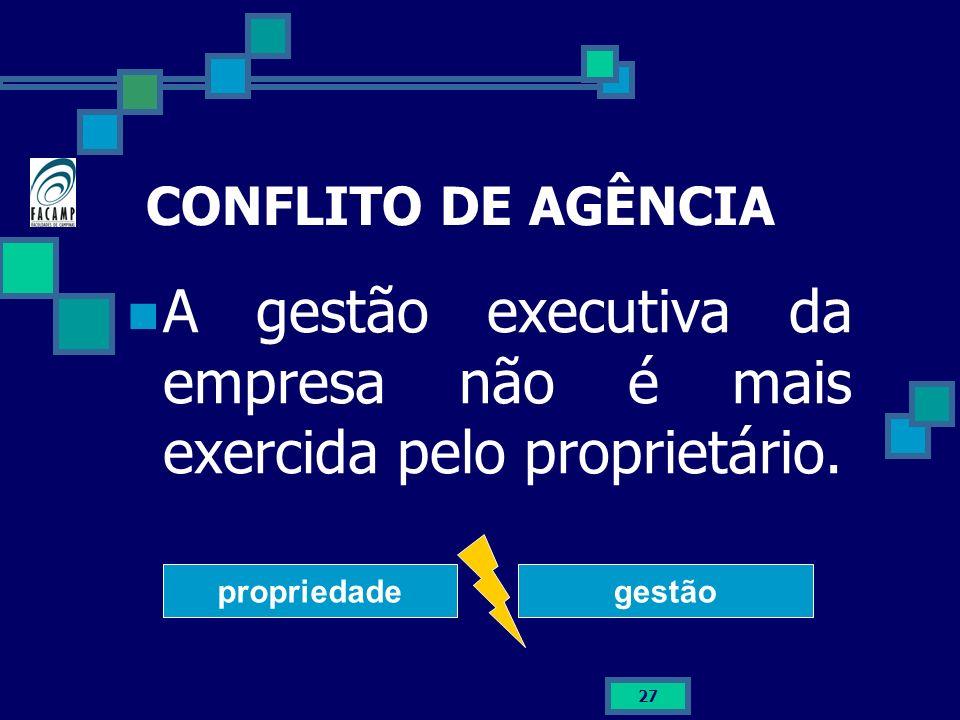 27 CONFLITO DE AGÊNCIA A gestão executiva da empresa não é mais exercida pelo proprietário. propriedadegestão
