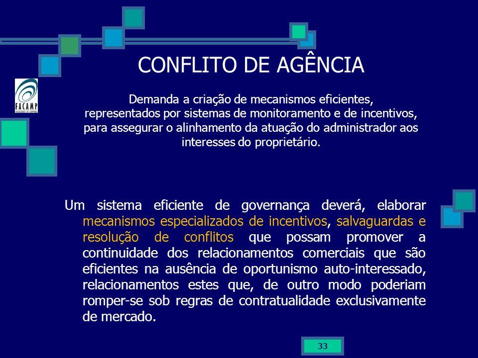 33 CONFLITO DE AGÊNCIA Demanda a criação de mecanismos eficientes, representados por sistemas de monitoramento e de incentivos, para assegurar o alinh