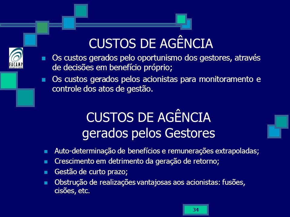 34 CUSTOS DE AGÊNCIA gerados pelos Gestores Auto-determinação de benefícios e remunerações extrapoladas; Crescimento em detrimento da geração de retor