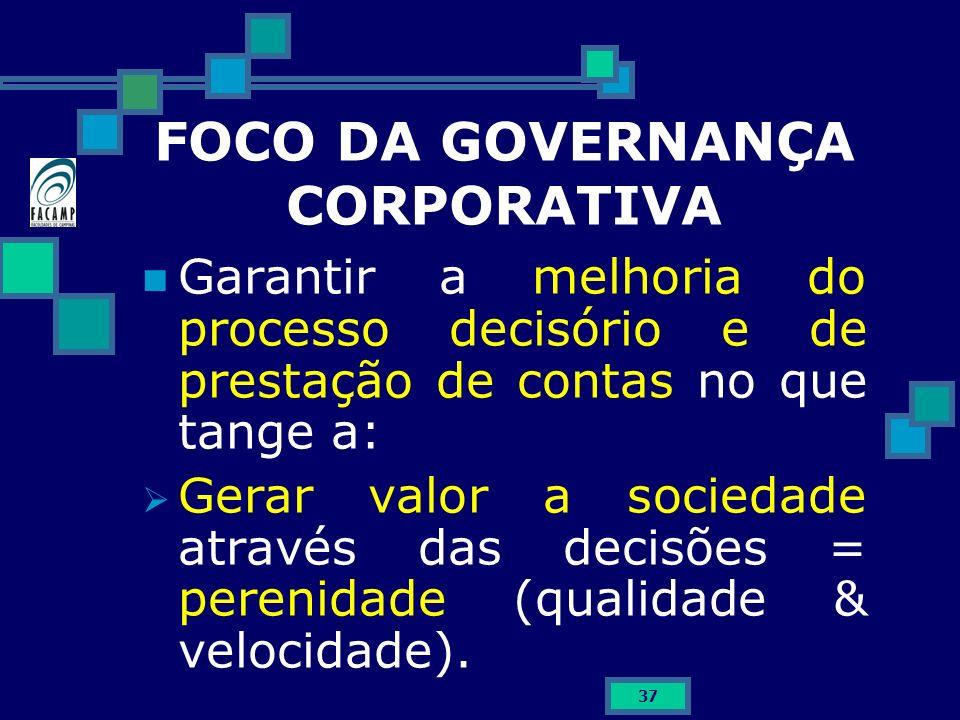 37 FOCO DA GOVERNANÇA CORPORATIVA Garantir a melhoria do processo decisório e de prestação de contas no que tange a: Gerar valor a sociedade através d