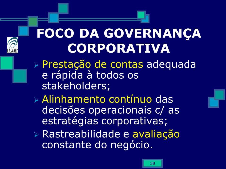 38 FOCO DA GOVERNANÇA CORPORATIVA Prestação de contas adequada e rápida à todos os stakeholders; Alinhamento contínuo das decisões operacionais c/ as