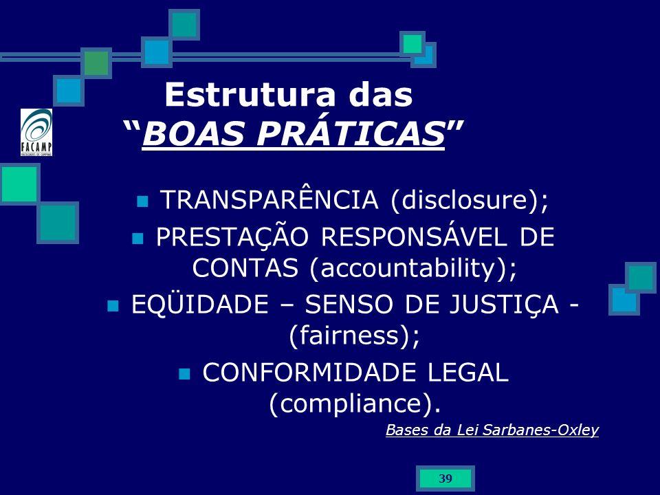 39 Estrutura das BOAS PRÁTICAS TRANSPARÊNCIA (disclosure); PRESTAÇÃO RESPONSÁVEL DE CONTAS (accountability); EQÜIDADE – SENSO DE JUSTIÇA - (fairness);