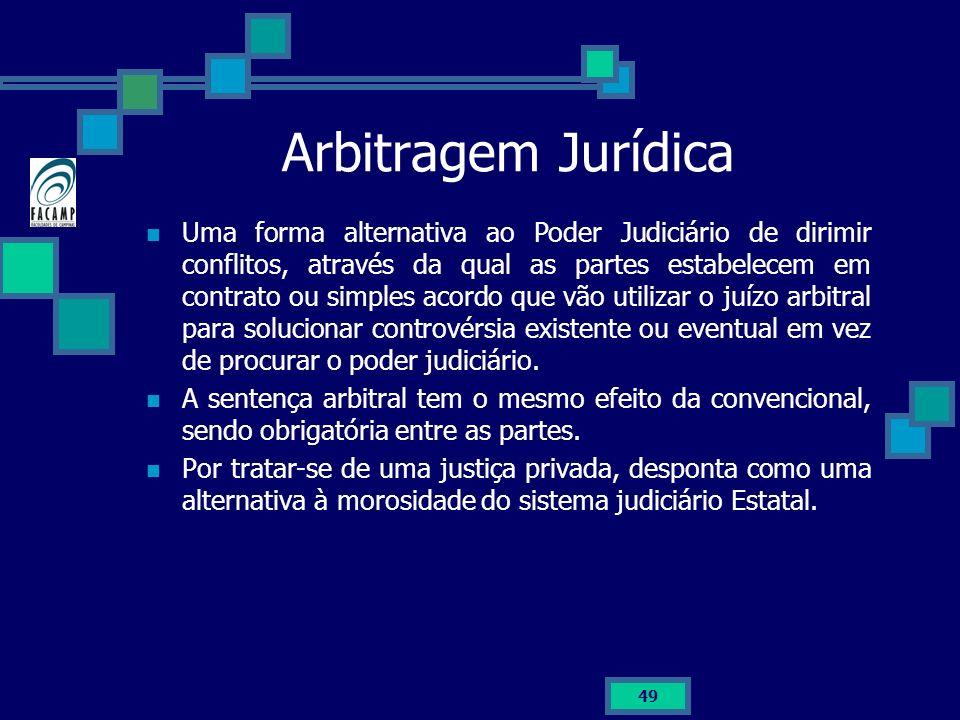 Arbitragem Jurídica Uma forma alternativa ao Poder Judiciário de dirimir conflitos, através da qual as partes estabelecem em contrato ou simples acord