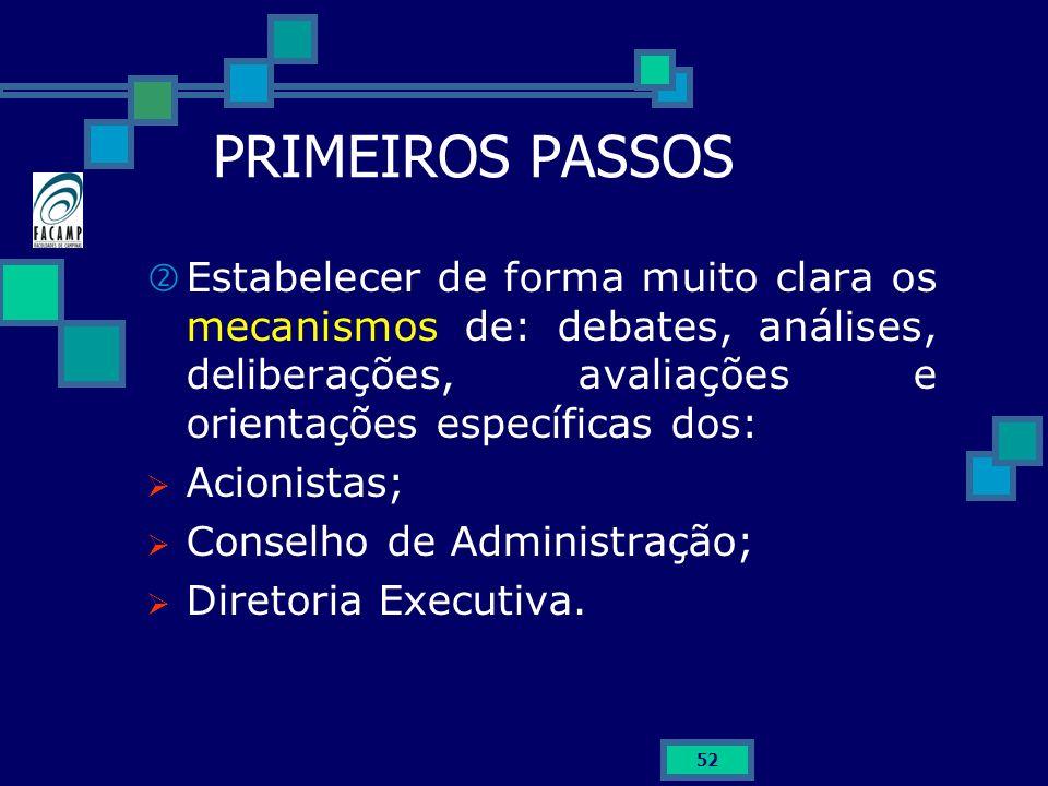 52 PRIMEIROS PASSOS Estabelecer de forma muito clara os mecanismos de: debates, análises, deliberações, avaliações e orientações específicas dos: Acio