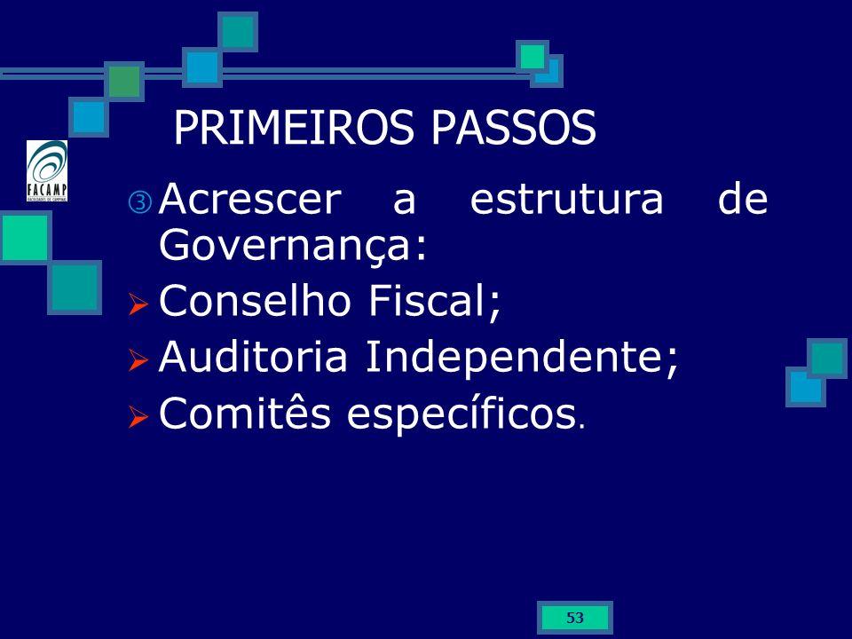 53 PRIMEIROS PASSOS Acrescer a estrutura de Governança: Conselho Fiscal; Auditoria Independente; Comitês específicos.