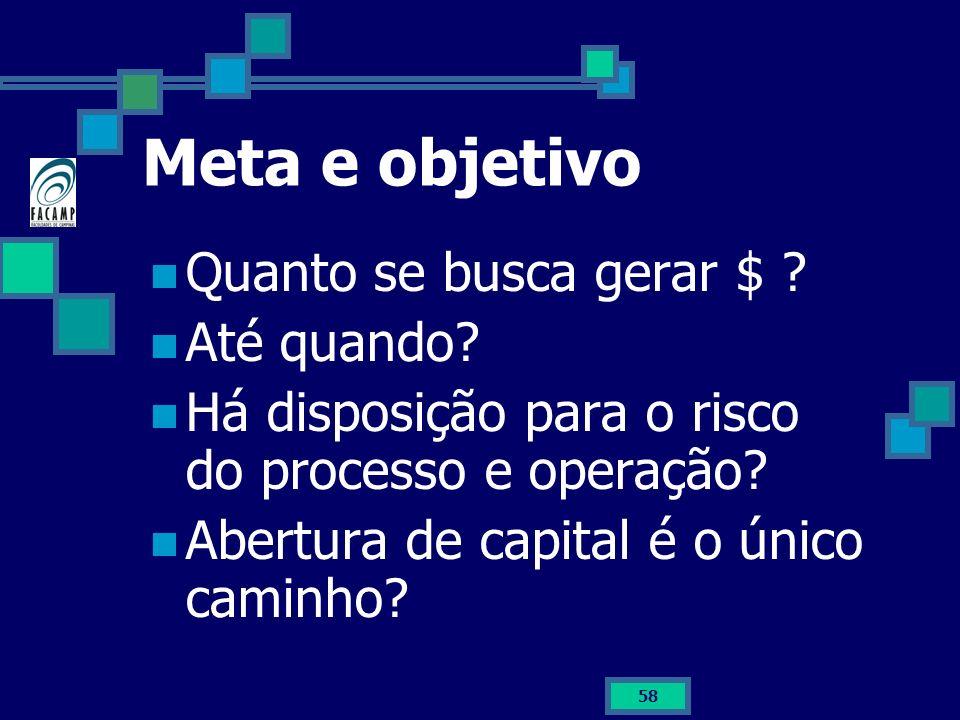 58 Meta e objetivo Quanto se busca gerar $ ? Até quando? Há disposição para o risco do processo e operação? Abertura de capital é o único caminho?