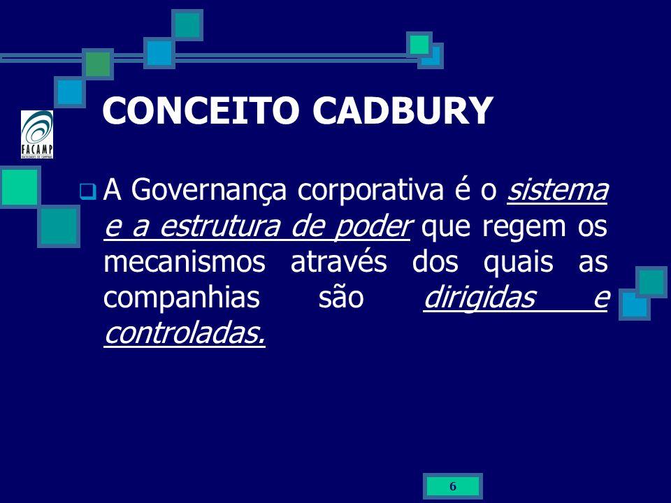 6 CONCEITO CADBURY A Governança corporativa é o sistema e a estrutura de poder que regem os mecanismos através dos quais as companhias são dirigidas e