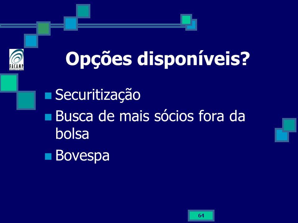64 Opções disponíveis? Securitização Busca de mais sócios fora da bolsa Bovespa
