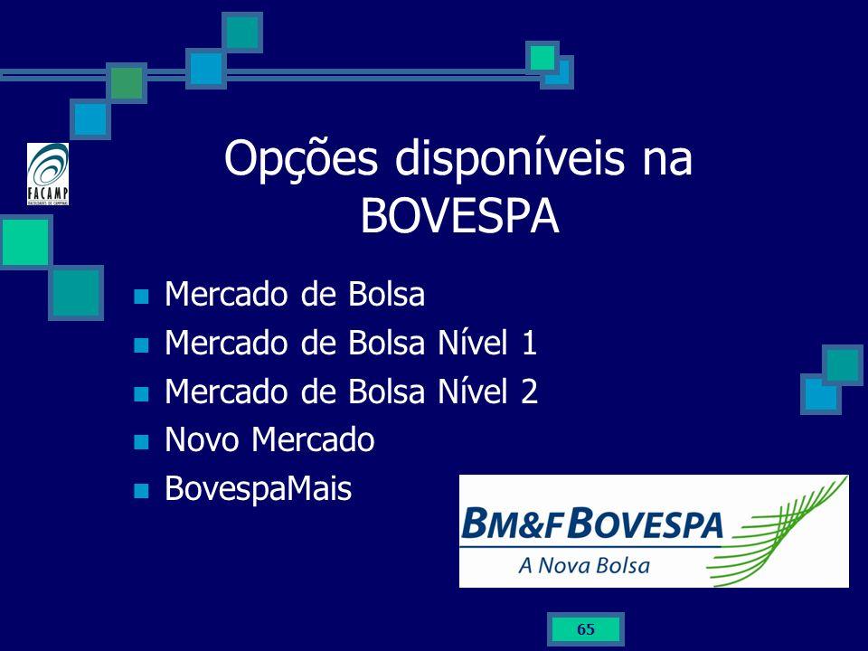 65 Opções disponíveis na BOVESPA Mercado de Bolsa Mercado de Bolsa Nível 1 Mercado de Bolsa Nível 2 Novo Mercado BovespaMais