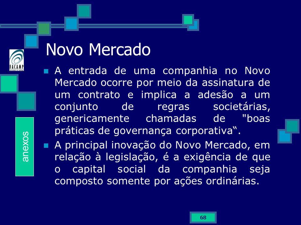 68 Novo Mercado A entrada de uma companhia no Novo Mercado ocorre por meio da assinatura de um contrato e implica a adesão a um conjunto de regras soc