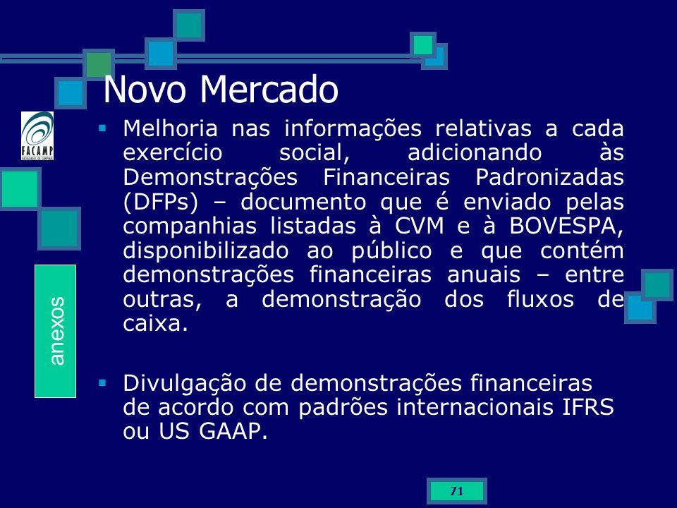 71 Novo Mercado Melhoria nas informações relativas a cada exercício social, adicionando às Demonstrações Financeiras Padronizadas (DFPs) – documento q