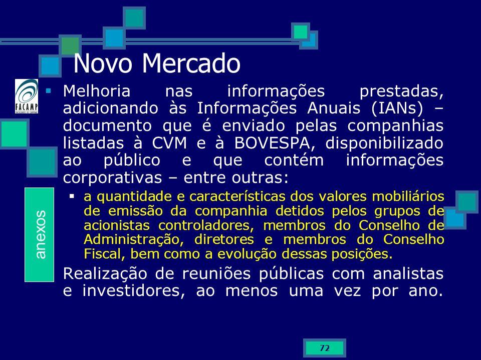 72 Novo Mercado Melhoria nas informações prestadas, adicionando às Informações Anuais (IANs) – documento que é enviado pelas companhias listadas à CVM