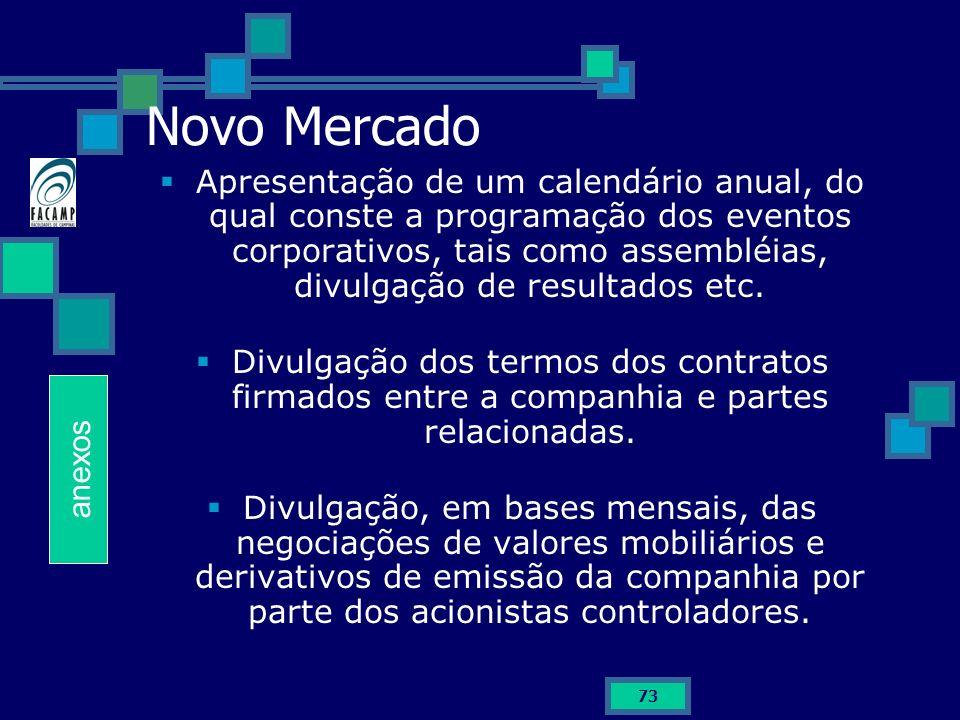 73 Novo Mercado Apresentação de um calendário anual, do qual conste a programação dos eventos corporativos, tais como assembléias, divulgação de resul