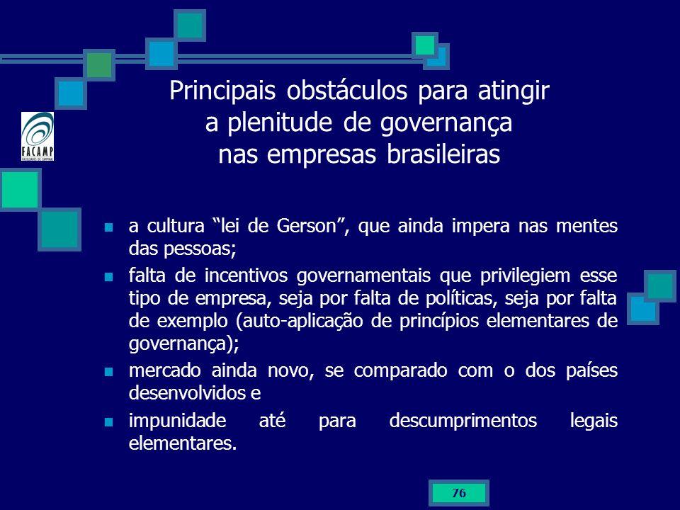 Principais obstáculos para atingir a plenitude de governança nas empresas brasileiras a cultura lei de Gerson, que ainda impera nas mentes das pessoas