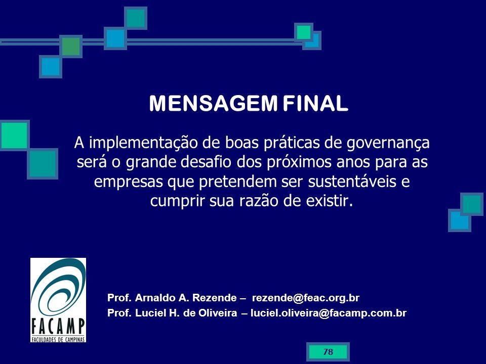 MENSAGEM FINAL A implementação de boas práticas de governança será o grande desafio dos próximos anos para as empresas que pretendem ser sustentáveis