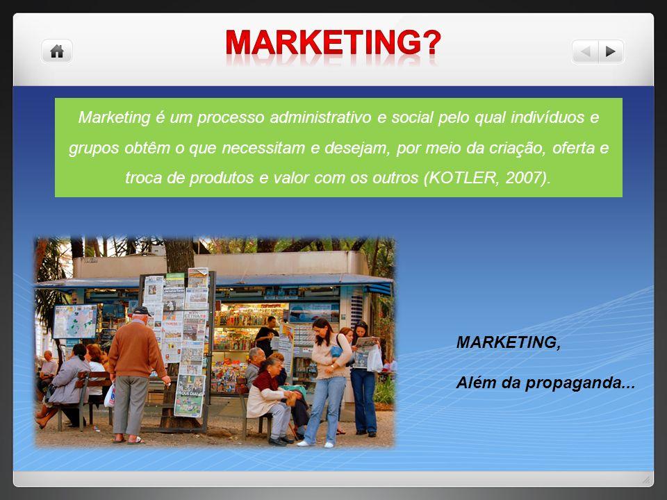 Marketing é um processo administrativo e social pelo qual indivíduos e grupos obtêm o que necessitam e desejam, por meio da criação, oferta e troca de