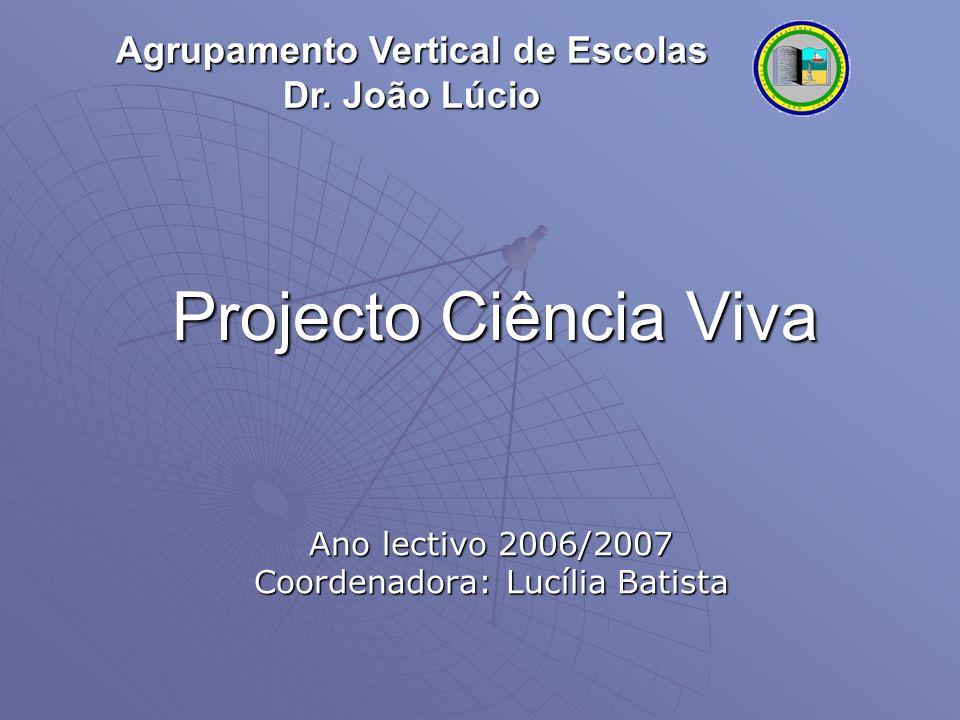 Projecto Ciência Viva Ano lectivo 2006/2007 Coordenadora: Lucília Batista Agrupamento Vertical de Escolas Dr.