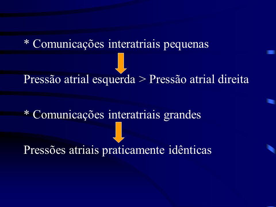 * Comunicações interatriais pequenas Pressão atrial esquerda > Pressão atrial direita * Comunicações interatriais grandes Pressões atriais praticamente idênticas