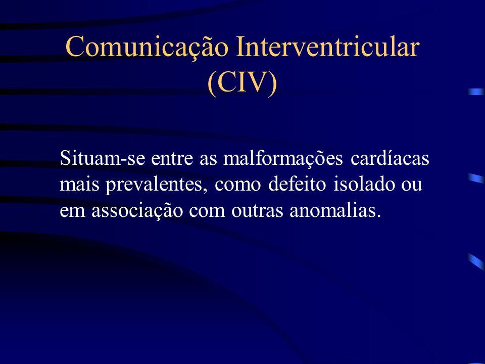 Comunicação Interventricular (CIV) Situam-se entre as malformações cardíacas mais prevalentes, como defeito isolado ou em associação com outras anomalias.