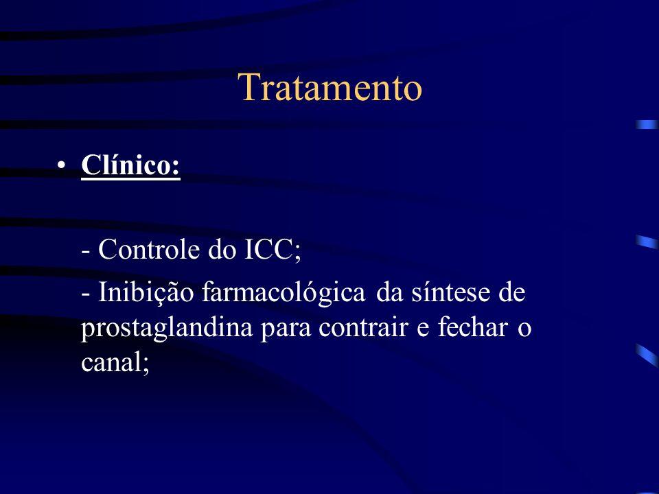 Tratamento Clínico: - Controle do ICC; - Inibição farmacológica da síntese de prostaglandina para contrair e fechar o canal;