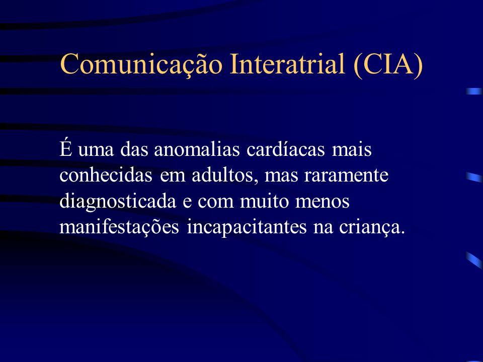 Comunicação Interatrial (CIA) É uma das anomalias cardíacas mais conhecidas em adultos, mas raramente diagnosticada e com muito menos manifestações incapacitantes na criança.