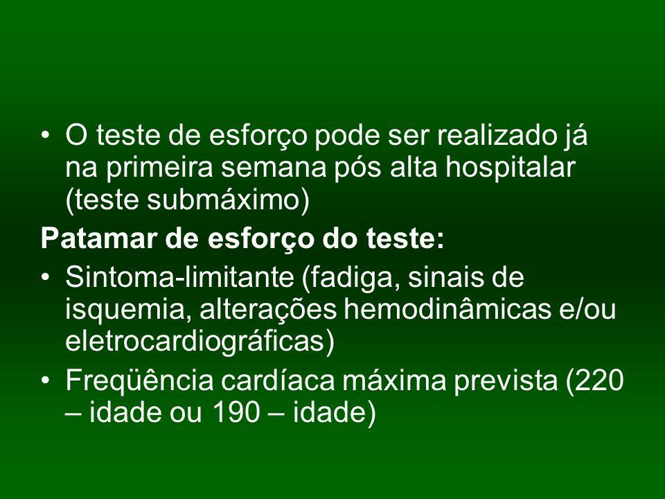 O teste de esforço pode ser realizado já na primeira semana pós alta hospitalar (teste submáximo) Patamar de esforço do teste: Sintoma-limitante (fadi