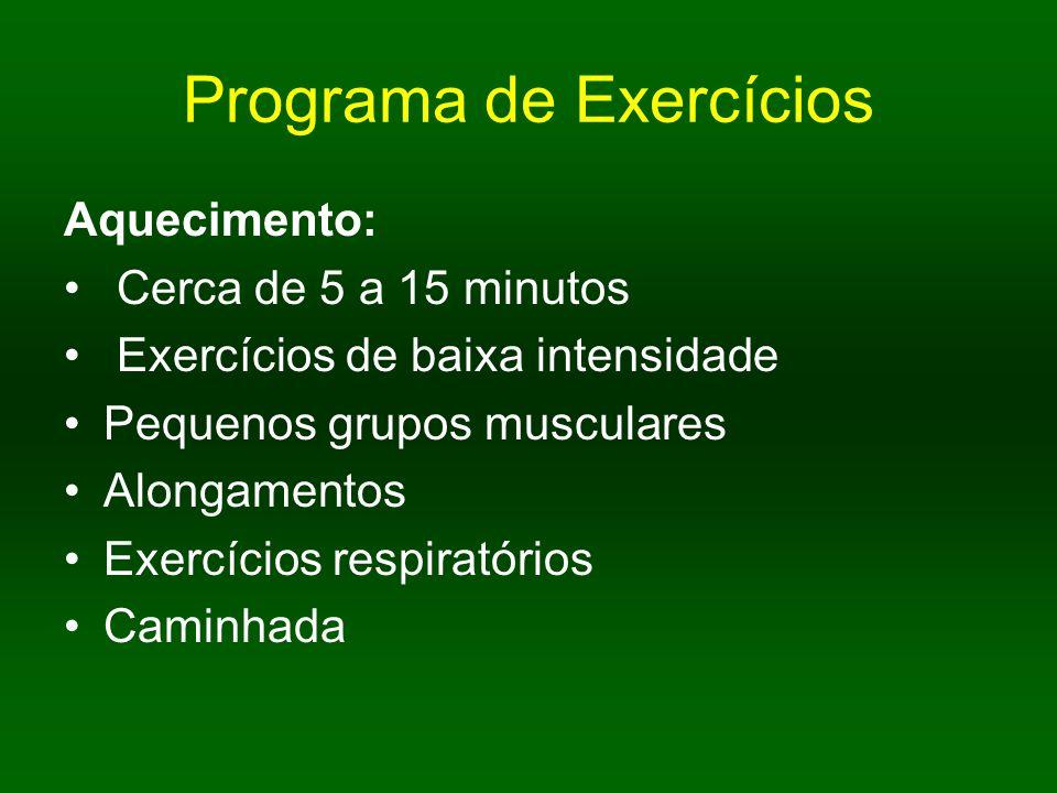 Programa de Exercícios Aquecimento: Cerca de 5 a 15 minutos Exercícios de baixa intensidade Pequenos grupos musculares Alongamentos Exercícios respira