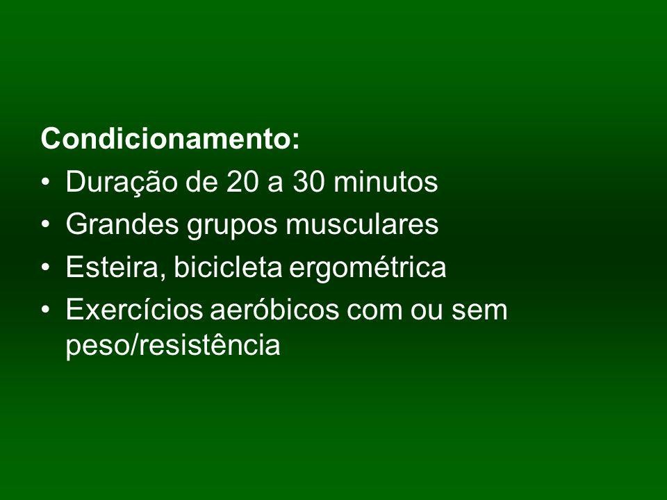 Condicionamento: Duração de 20 a 30 minutos Grandes grupos musculares Esteira, bicicleta ergométrica Exercícios aeróbicos com ou sem peso/resistência