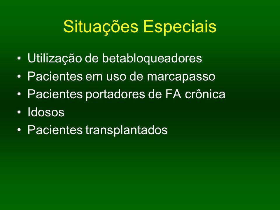Situações Especiais Utilização de betabloqueadores Pacientes em uso de marcapasso Pacientes portadores de FA crônica Idosos Pacientes transplantados