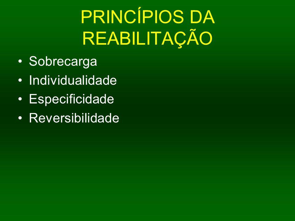 PRINCÍPIOS DA REABILITAÇÃO Sobrecarga Individualidade Especificidade Reversibilidade