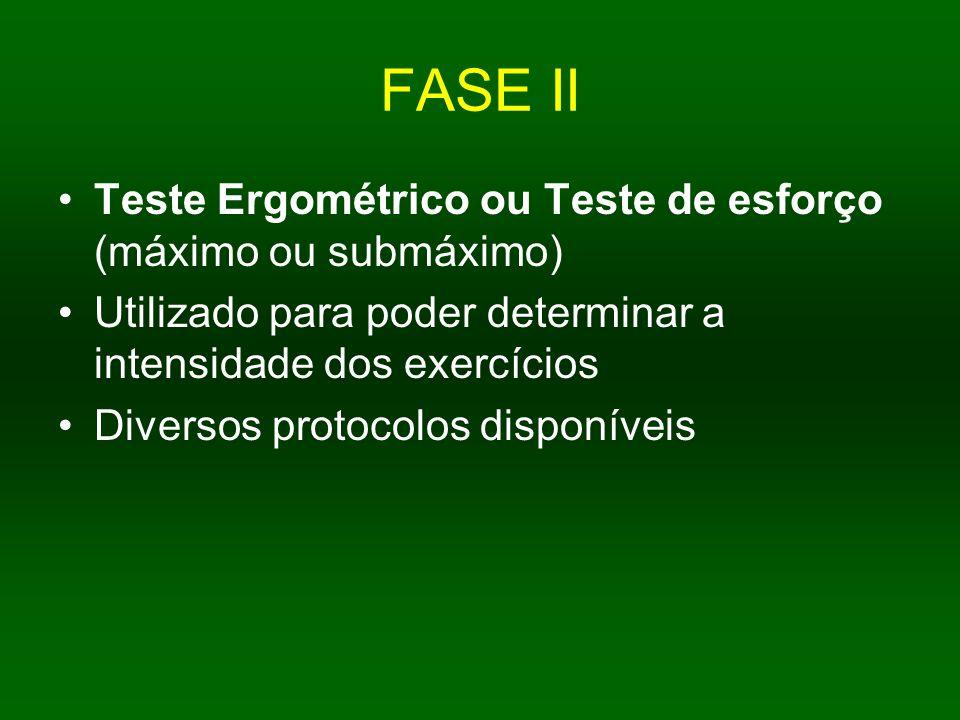 FASE II Teste Ergométrico ou Teste de esforço (máximo ou submáximo) Utilizado para poder determinar a intensidade dos exercícios Diversos protocolos d