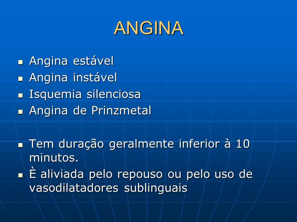 ANGINA Angina estável Angina estável Angina instável Angina instável Isquemia silenciosa Isquemia silenciosa Angina de Prinzmetal Angina de Prinzmetal