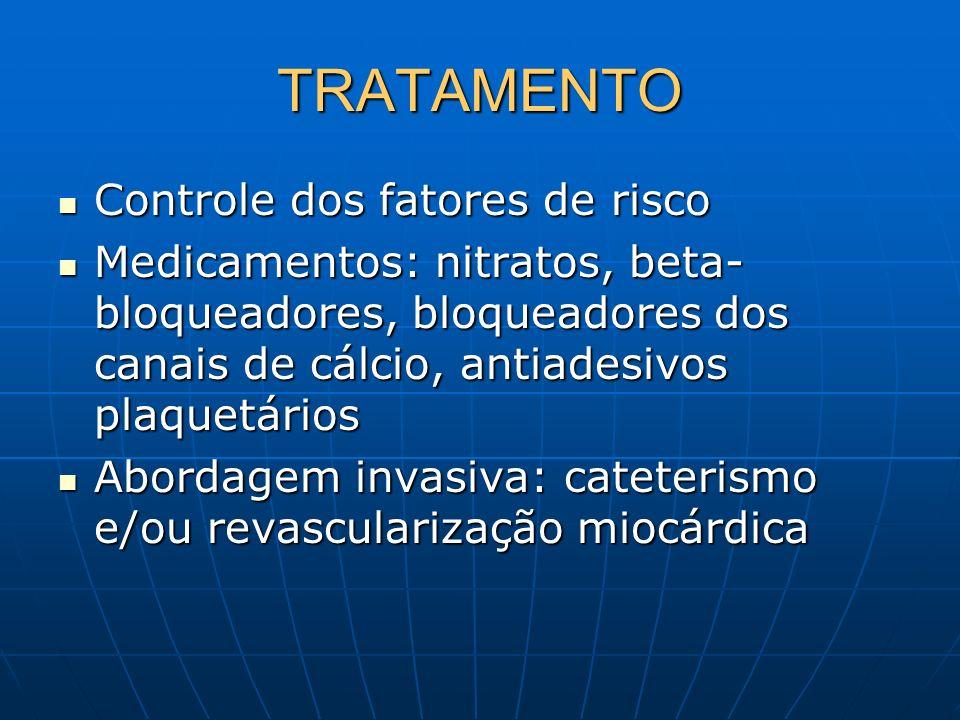TRATAMENTO Controle dos fatores de risco Controle dos fatores de risco Medicamentos: nitratos, beta- bloqueadores, bloqueadores dos canais de cálcio,