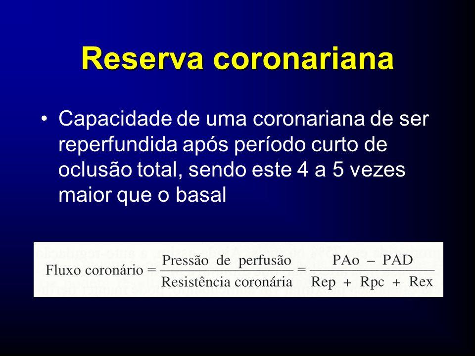 Capacidade de uma coronariana de ser reperfundida após período curto de oclusão total, sendo este 4 a 5 vezes maior que o basal Reserva coronariana
