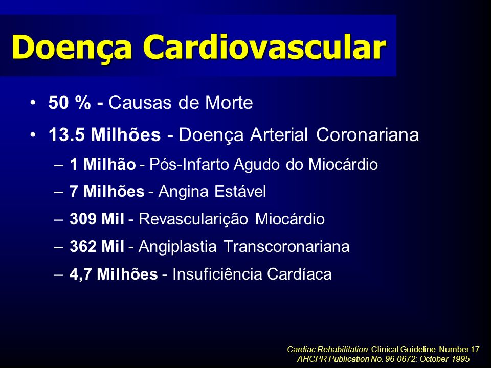 Doença Cardiovascular 50 % - Causas de Morte 13.5 Milhões - Doença Arterial Coronariana –1 Milhão - Pós-Infarto Agudo do Miocárdio –7 Milhões - Angina Estável –309 Mil - Revascularição Miocárdio –362 Mil - Angiplastia Transcoronariana –4,7 Milhões - Insuficiência Cardíaca Cardiac Rehabilitation: Clinical Guideline.