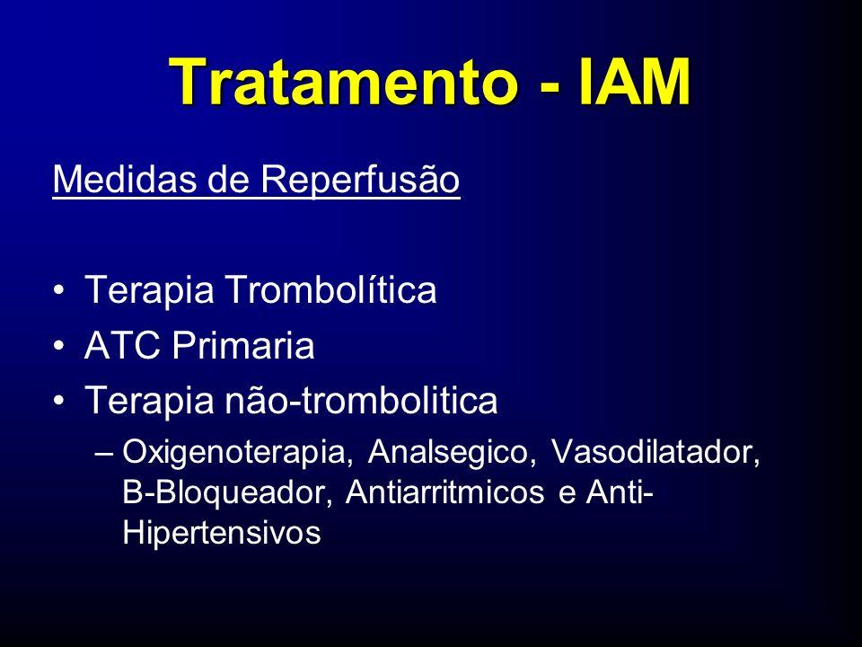 Tratamento - IAM Medidas de Reperfusão Terapia Trombolítica ATC Primaria Terapia não-trombolitica –Oxigenoterapia, Analsegico, Vasodilatador, B-Bloqueador, Antiarritmicos e Anti- Hipertensivos