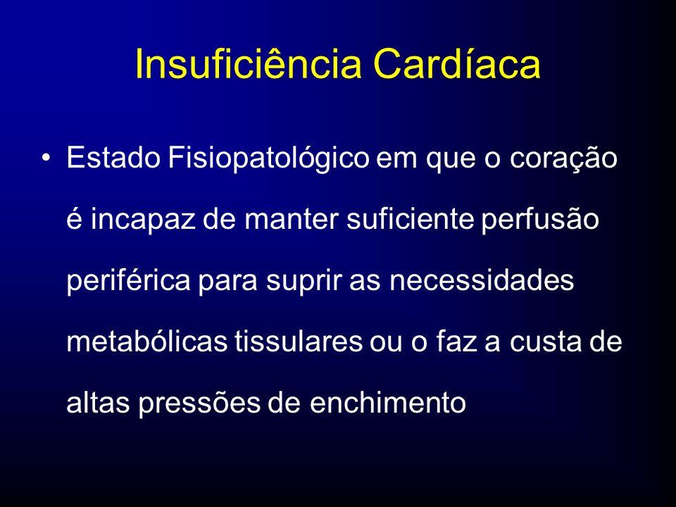 Insuficiência Cardíaca Estado Fisiopatológico em que o coração é incapaz de manter suficiente perfusão periférica para suprir as necessidades metabólicas tissulares ou o faz a custa de altas pressões de enchimento