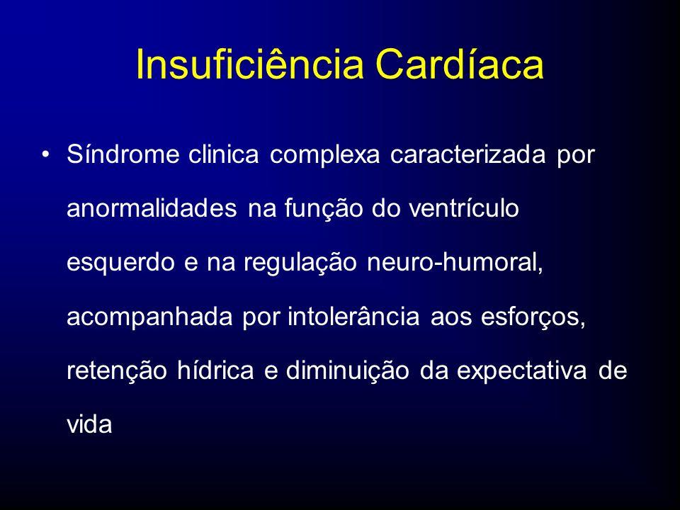 Insuficiência Cardíaca Síndrome clinica complexa caracterizada por anormalidades na função do ventrículo esquerdo e na regulação neuro-humoral, acompanhada por intolerância aos esforços, retenção hídrica e diminuição da expectativa de vida